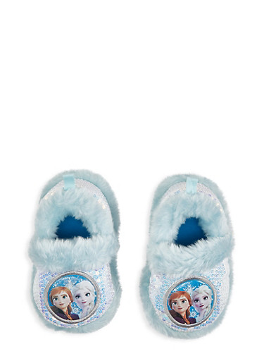 Girls 5-12 Frozen Sequin Slippers,BLUE,large