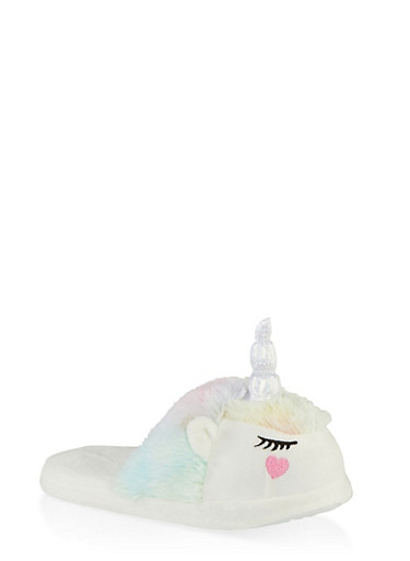 Girls 12-4 Faux Fur Unicorn Slippers,MULTI COLOR,large
