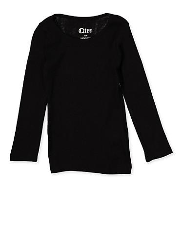 Girls 4-6x Long Sleeve Tee | Black,BLACK,large
