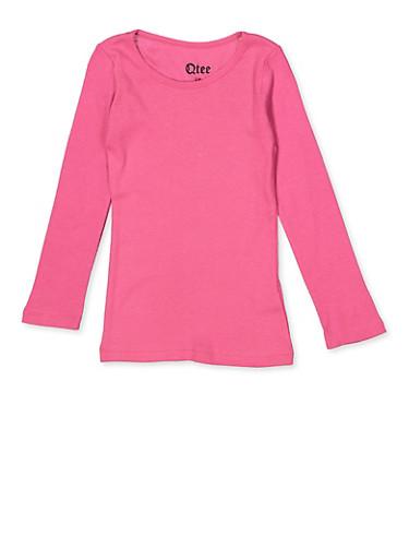 Girls 4-6x Long Sleeve Tee | Pink,PINK,large