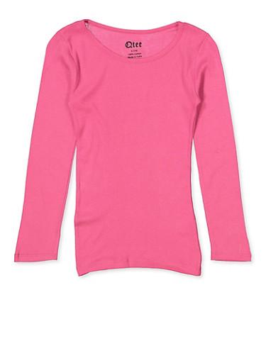 Girls 7-16 Long Sleeve Tee | Pink,PINK,large