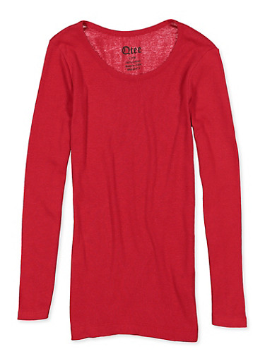 Girls 7-16 Ribbed Long Sleeve Tee,RED,large