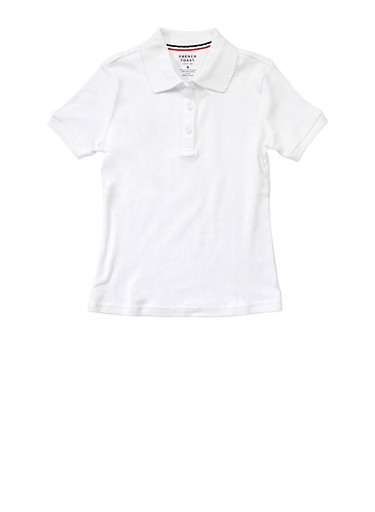 Girls 4-6x Short Sleeve Interlock Polo School Uniform,WHITE,large