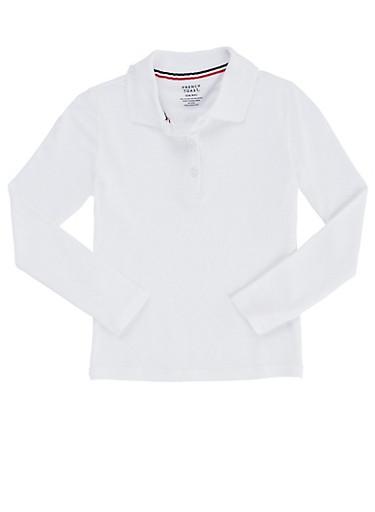 Girls 4-6x Long Sleeve Interlock Knit Polo School Uniform,WHITE,large