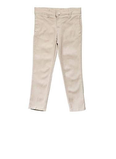 Girls 4-6X Skinny Stretch Twill Pant School Uniform,KHAKI,large