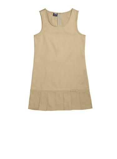 Girls 4-6x Pleated Hem Jumper School Uniform,KHAKI,large