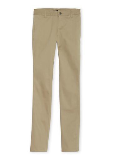 Junior School Uniform Skinny Leg Chino Pants,KHAKI,large