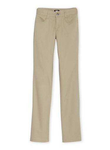Junior School Uniform Pants with Five Pockets,KHAKI,large