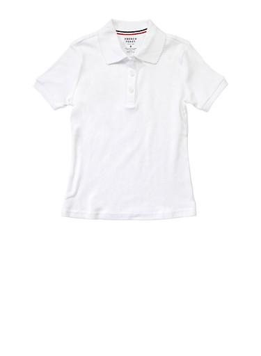 Girls 7-14 Short Sleeve Interlock Polo School Uniform,WHITE,large