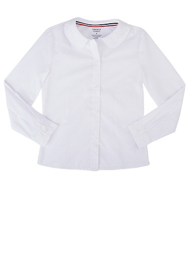 Girls 7-14 Long Sleeve Peter Pan School Uniform Blouse,WHITE,large