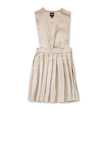 Girls 7-14 V Neck Pleated Jumper School Uniform at Rainbow Shops in Jacksonville, FL | Tuggl