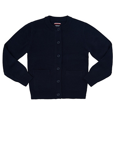 Girls 7-14 Cardigan Sweater School Uniform,NAVY,large