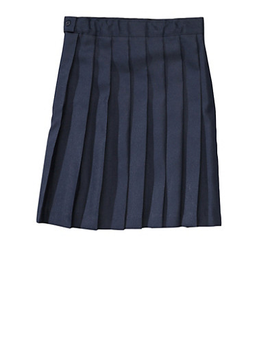 Girls 16-20 Below the Knee Pleated Skirt School Uniform,NAVY,large