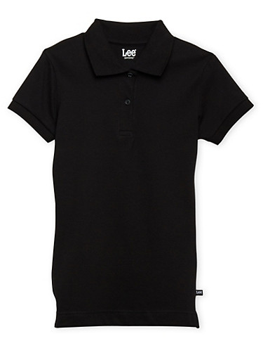 Junior Short Sleeve Polo School Uniform,BLACK,large