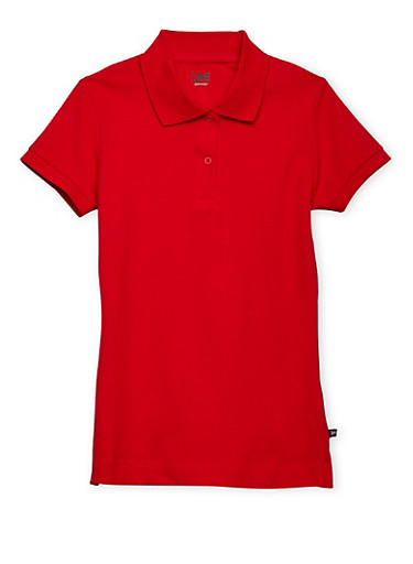 Juniors Short Sleeve Polo School Uniform,RED,large