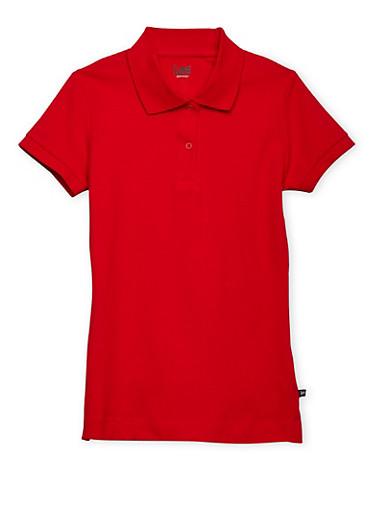 Junior Short Sleeve Polo School Uniform,RED,large