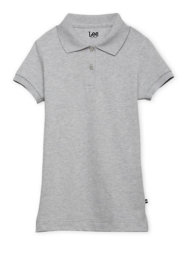 Junior Short Sleeve Polo School Uniform,GREY,large