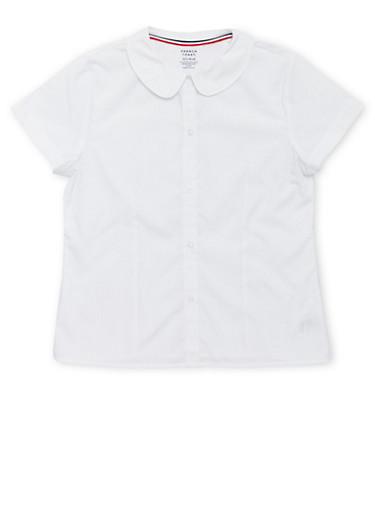 Girls Plus Size Short Sleeve Peter Pan School Uniform Blouse,WHITE,large