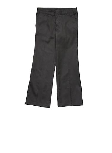 Girls Plus Size Adjustable Waist Pant School Uniform,BLACK,large