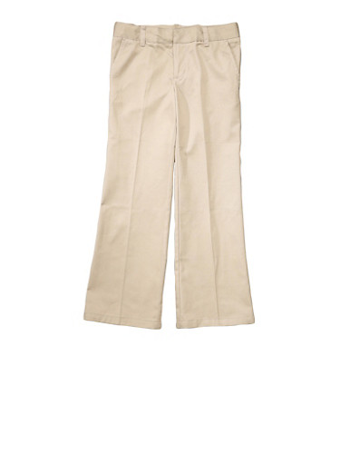 Girls Plus Size Adjustable Waist Pant School Uniform,KHAKI,large