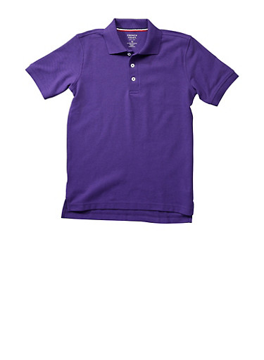 Boys 4-7 Short Sleeve Pique Polo School Uniform,PURPLE,large