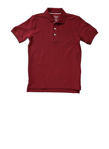 Boys 4-7 Short Sleeve Pique Polo School Uniform,WINE,large
