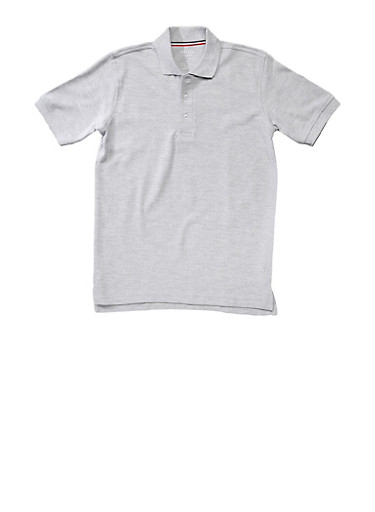Boys 4-7 Short Sleeve Pique Polo School Uniform,GREY,large