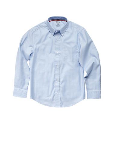 Boys 4-7 Long Sleeve Oxford School Uniform Shirt,BABY BLUE,large