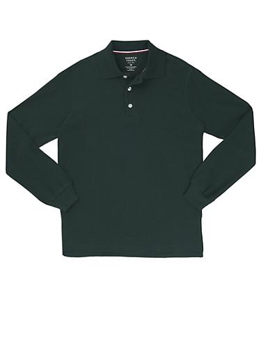 Boys 4-7 Long Sleeve Pique Polo School Uniform,HUNTER,large