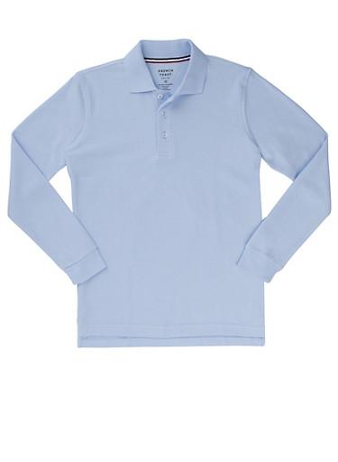 Boys 4-7 Long Sleeve Pique Polo School Uniform,BABY BLUE,large