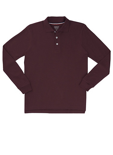 Boys 4-7 Long Sleeve Pique Polo School Uniform,WINE,large