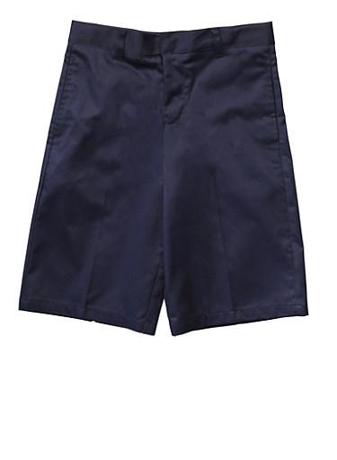 Boys 4-7 Flat Front Adjustable Waist Shorts School Uniform,NAVY,large