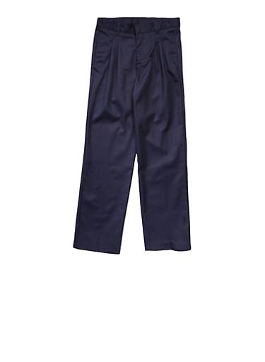 Boys 4-7 Adjustable Waist Pleated Double Knee Pants School Uniform,NAVY,large