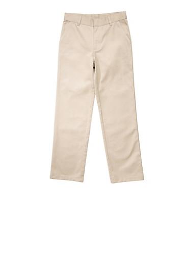 Boys 4-7 Adjustable Waist Straight Leg Twill School Uniform Pants   5855008930051,KHAKI,large