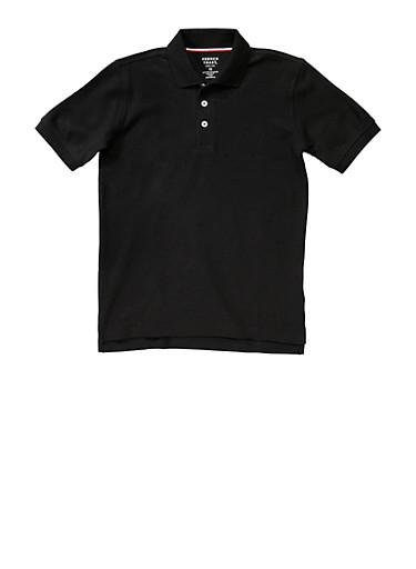 Boys 8-14 Short Sleeve Pique Polo School Uniform,BLACK,large