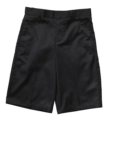 Boys 8-14 Flat Front Adjustable Waist Shorts School Uniform,BLACK,large