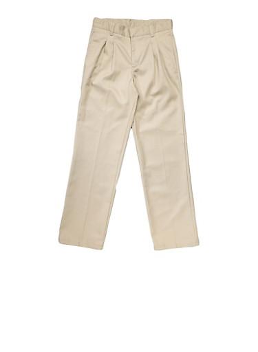 Boys 8-14 Adjustable Waist Pleated Double Knee Pants School Uniform,KHAKI,large