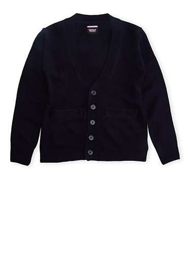 Boys 8-14 Cardigan Sweater School Uniform,NAVY,large