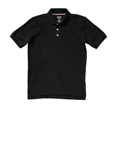 Boys 16-20 Short Sleeve Pique Polo School Uniform,BLACK,large