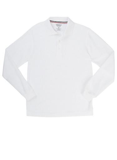 Boys 16-20 Long Sleeve Pique Polo School Uniform,WHITE,large