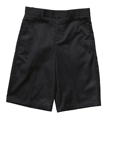 Boys 16-20 Flat Front Adjustable Waist Shorts School Uniform,BLACK,large