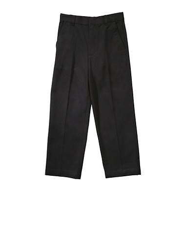 Boys 16-20 Adjustable Waist Straight Leg Twill School Uniform Pants,BLACK,large