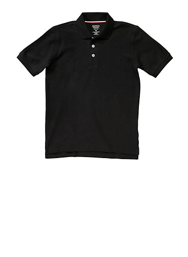 Boys Husky Short Sleeve Pique Polo School Uniform,BLACK,large