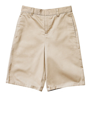 Boys Husky Flat Front Adjustable Waist Shorts School Uniform,KHAKI,large