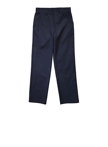 Boys Husky Adjustable Waist Straight Leg Twill School Uniform Pants,NAVY,large