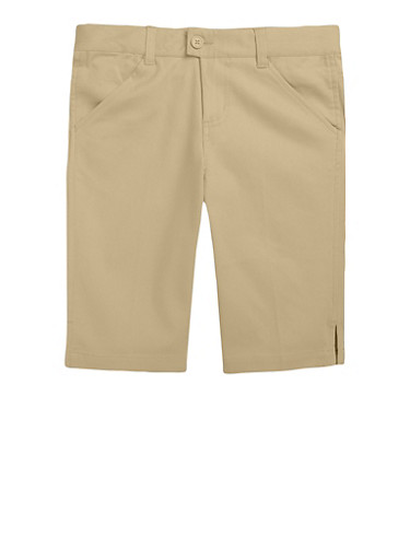 Girls 4-6X Bermuda Shorts School Uniform,KHAKI,large