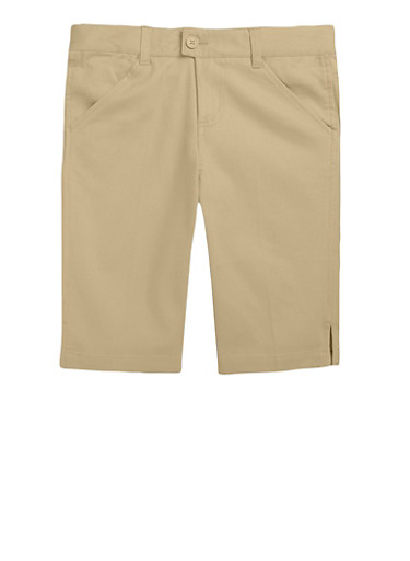Girls Plus Size Bermuda Shorts School Uniform,KHAKI,large