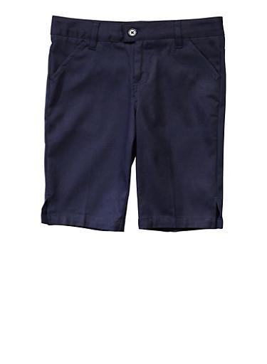 Girls Plus Size Bermuda Shorts School Uniform,NAVY,large