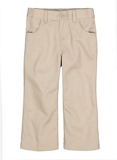 Girls 2T-4T Pull On School Uniform Pants,KHAKI,large