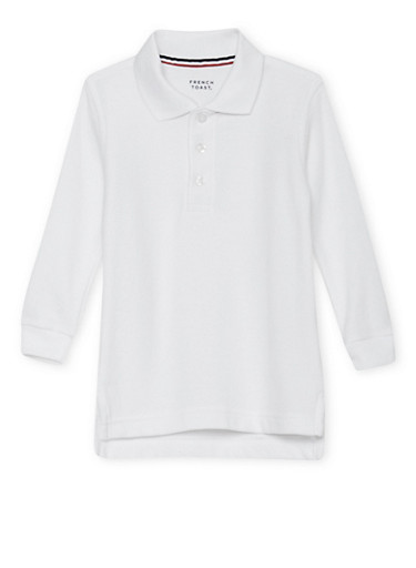 Boys 2T-4T Long Sleeve Pique Polo School Uniform | Tuggl